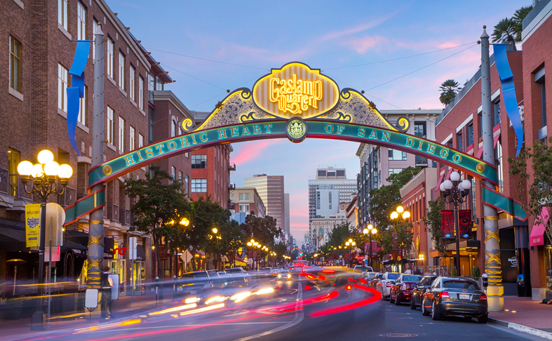 Gaslamp Quarter downtown in San Diego